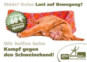 Fitness-Studio Aktion, Marketing-Kampagne, Werbung - Kampf gegen den Schweinehund
