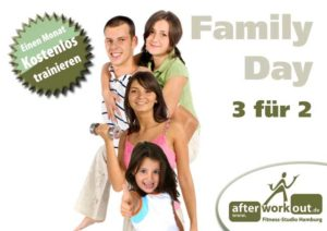 Fitness-Studio Aktion, Marketing-Kampagne, Werbung - Family Day - Familien Tag