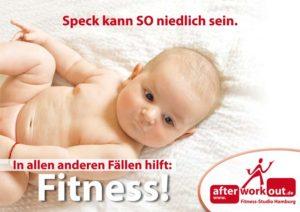 Fitness-Studio Aktion, Marketing-Kampagne, Werbung - Baby niedlich Speck