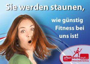 Fitness-Studio Aktion, Marketing-Kampagne, Werbung - günstig traininieren - staunen