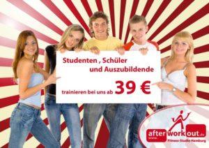 Fitness-Studio Aktion, Marketing-Kampagne, Werbung - Studenten, Schüler, Auszubildende, Azubis