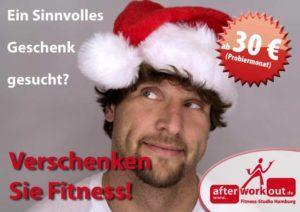 Fitness-Studio Aktion, Marketing-Kampagne, Werbung - Geschenk zu Weihnachten, Weihnachtsgeschenk, Gutschein