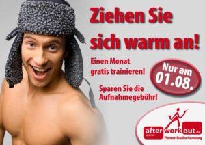 Fitness-Studio Aktion, Marketing-Kampagne, Werbung - Winter - warm anziehen - ein Monat gratis - Aufnahmegebühr sparen