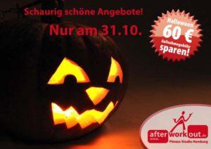 Fitness-Studio Aktion, Marketing-Kampagne, Werbung - schaurig schön, Halloween