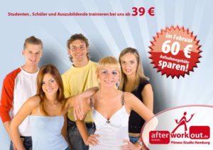 Fitness-Studio Aktion, Marketing-Kampagne, Werbung - Schüler, Studenten, Azubis, Auszubildende Tarif