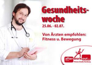 Fitness-Studio Aktion, Marketing-Kampagne, Werbung - Gesundheitswoche, Arzt, Bewegung