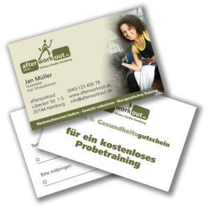 Visitenkarten Gutscheine Terminkarten - Fitnessstudio - Sportverein